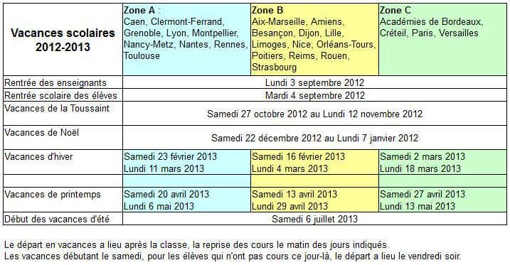 Vacances scolaires 2013 toussaint for Dates vacances scolaires 2014