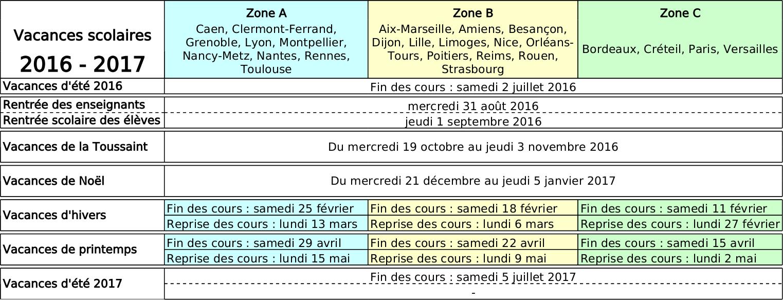 Tableau des vacances scolaires 2014 2015 et ann es suivantes for Vacances scolaires 2016 yvelines