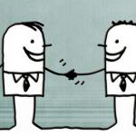 deux personnages se serrant la main : le business plan permet de se mettre d'accord