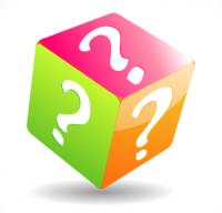 cube multicolor avec des points d'interrogation sur chaque face