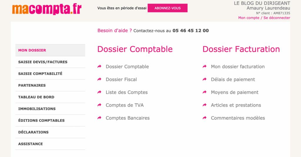 Interface Logiciel Macompta.fr