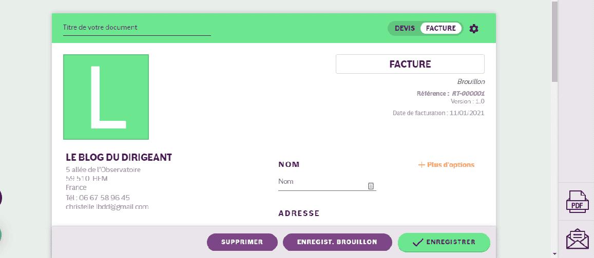 test INFast logiciel de facturation en ligne