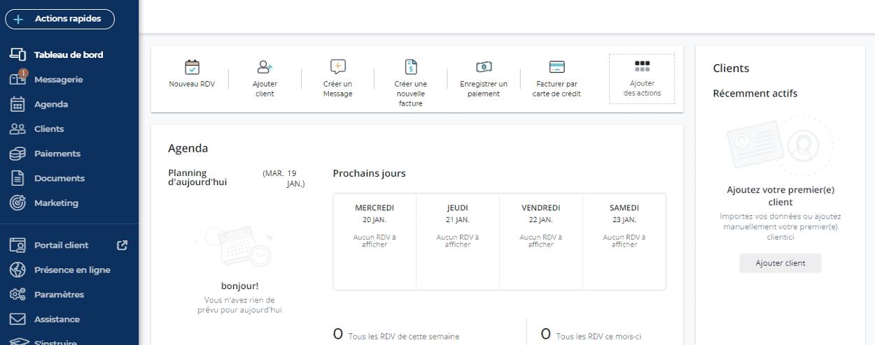 test et avis du logiciel de trésorerie facturation VCITA menu central